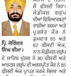 Dr. Joginder Singh Congratulate Students